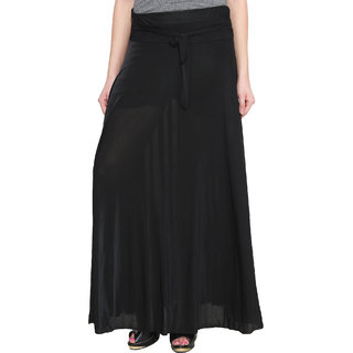 NumBrave Black Plain Viscose Skirt