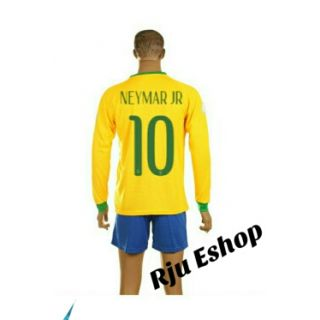 Long sleeve neymar jr brazil Jersey with short
