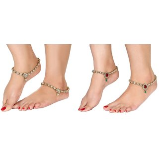 Gold Plated Kundan Studded Anklets Payal For Girls Women by Charms Combo