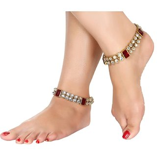 Gold Plated Kundan Studded Anklets Payal For Girls Women by Charms