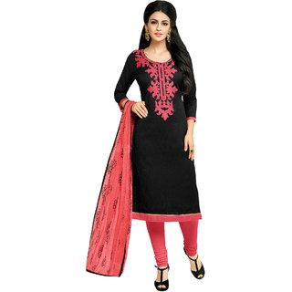 Sareemall Black Lakda Jacquard Work Dress Material