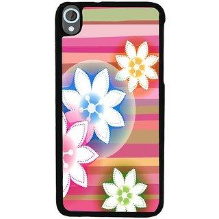 Ayaashii Flower in Strip Pattern Back Case Cover for HTC Desire 820::HTC Desire 820Q::HTC Desire 820S