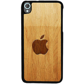 Ayaashii Apple Logo In Wooden Pattern Back Case Cover for HTC Desire 820::HTC Desire 820Q::HTC Desire 820S
