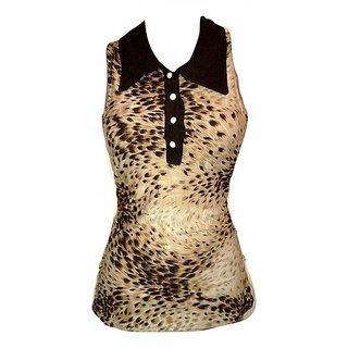 Beige Lycra Animal Casual Wear Top