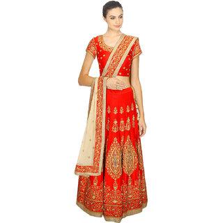Beige Red Embroidered Silk Lehenga