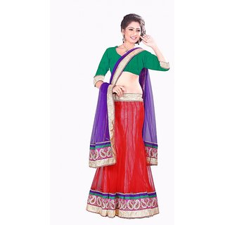 Red Emroidered Net Lehenga