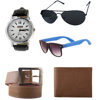 Combo Of Lotto Watch, Fastfox Belt, Wallet, Wfr And Black Avi SG