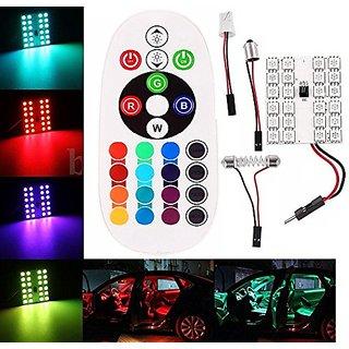 AutoSun 24 LED Remote Control 5050 SMD RGB Light Car Reading Lamp Bulb T10 Festoon BA9S