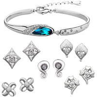 Om Jewells Platinum Plated Fashionable Combo of Five Stud Earrings with Adjustable Bracelet Kada CO1000021