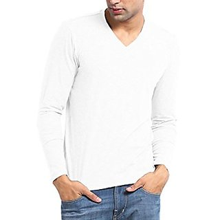 Wintex -w White V-neck Full Sleeve T-shirt