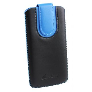Emartbuy Black / Blue Plain Premium PU Leather Slide in Pouch Case Cover Sleeve Holder ( Size LM4 ) With Pull Tab Mechanism Suitable For Freetel Samurai Raijin