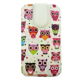 Emartbuy Multi Coloured Owls Premium PU Leather Slide in Pouch Case Cover Sleeve Holder ( Size 5XL ) With Pull Tab Mechanism Suitable For Doogee X7