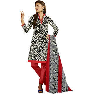 Trendz Apparels Black,Beige Printed Dress Material With Matching Dupatta TASJP254B