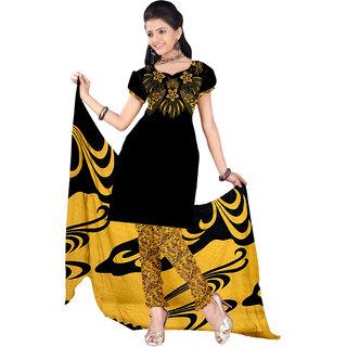 Trendz Apparels Black,Yellow Printed Dress Material With Matching Dupatta TASJP4026YELLOW