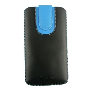 Emartbuy Black / Blue Plain Premium PU Leather Slide in Pouch Case Cover Sleeve Holder ( Size 5XL ) With Pull Tab Mechanism Suitable For Padgene M8 Smartphone 6 Inch