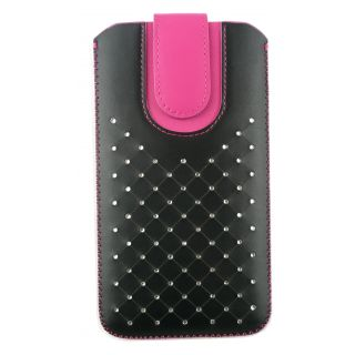Emartbuy Black / Hot Pink Gem Studded Premium PU Leather Slide in Pouch Case Cover Sleeve Holder ( Size 5XL ) With Pull Tab Mechanism Suitable For Padgene M8 Smartphone 6 Inch