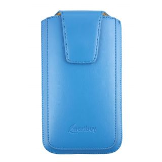 Emartbuy Sleek Range Light Blue Luxury PU Leather Slide in Pouch Case Cover Sleeve Holder ( Size 5XL ) With Magnetic Flap & Pull Tab Mechanism Suitable For Padgene M8 Smartphone 6 Inch