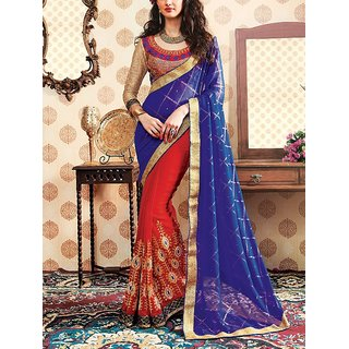 ANKAN Fashions Embroided Half and Half Saree ANSR008