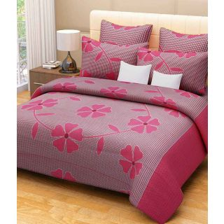 Shopaholic  Cotton Double Bedsheet with 2 Pillow Covers(BFT-01)