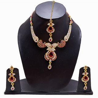 Ethnic Gold Plated Polki Necklace Set With Matching Maang Tikka - Red