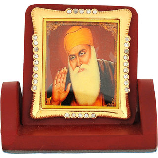 Leganza Guru Nanak Car Dashboard Idol in Wood with Brown base