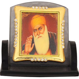 Leganza Guru Nanak Car Dashboard Idol in Glass with Black base
