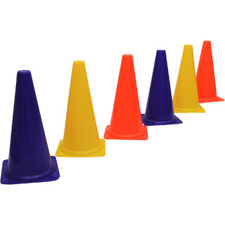 GSI Red Marker Cones in 12 inch height for Soccer Cricket Track and Field Sports Pack of 6