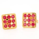 Clarity Gold Ruby 18K Yellow Gold Earrings -Er 5266