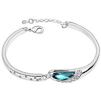Cyan Silver Plated Silver Alloy Bracelets For Women