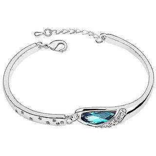 Cyan Silver Alloy Silver Plated Bracelets For Women