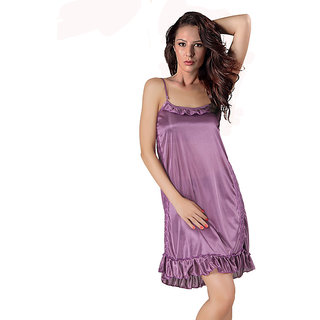 Klamotten Purple Satin Plain Night Dress