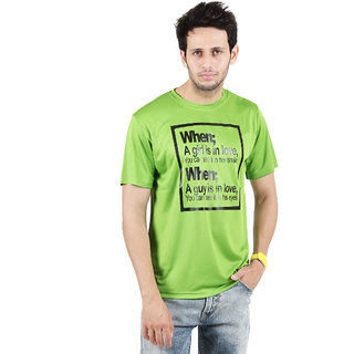 SSAK Green Round Neck Half Sleeve Regular Fit T-Shirt