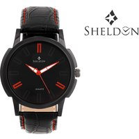 Sheldon Black Leather Analog Watch For Men