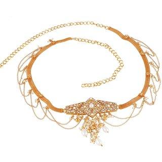 Biyu New Hot Classy Design Pearl Cubic Zirconia Gold Plated Saree Waist Belt