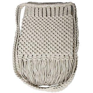 Diwaah Beige Embroidered Casual Sling Bag
