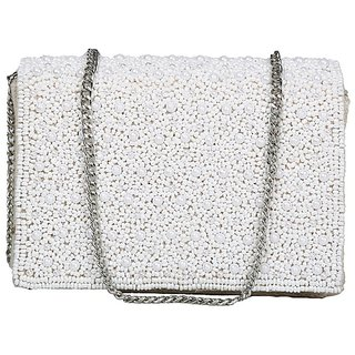 Diwaah White Self Design Party Clutch