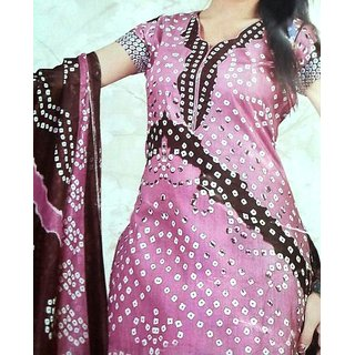 Ethnic Chic 14 Jaipuri Print Pink and Brown Printed Unstitched Suit with Dupatta