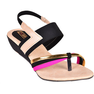 Trilokani Women Black Open Sandals