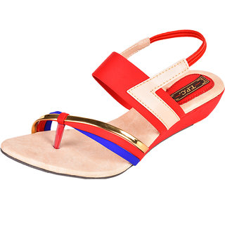 Trilokani Women Red Open Sandals