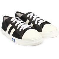 Do Bhai Women Black Lace-up Sneakers