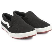 Do Bhai Women Black Slip On Sneakers