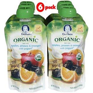 Gerber 3rd Foods 120G (4.23oz) - Organic Apples, Prunes & Oranges With Yogurt (Pack of 6)