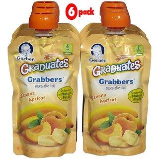 Gerber Graduates GraBBers 120G (4.23oz) - Fruit & Yogurt Banana Apricot (Pack of 6)