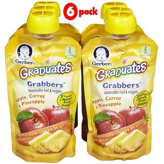 Gerber Graduates GraBBers 120G (4.23oz) - Apple, Carrot & Pineapple (Pack of 6)