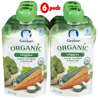 Gerber 2nd Foods 99G (3.5oz) - Organic Carrot, Zucchini & Broccoli (Pack of 6)