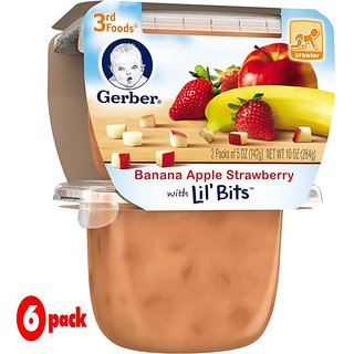 Gerber 3rd Foods 2Pk 284G (10oz) - Banana Apple Strawberry (Pack of 6)