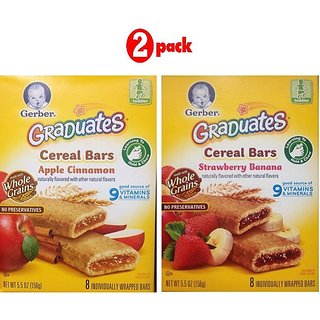 Gerber Graduates Cereal Bars Combo (Pack of 2) - Apple Cinnaman & Strawberry Banana