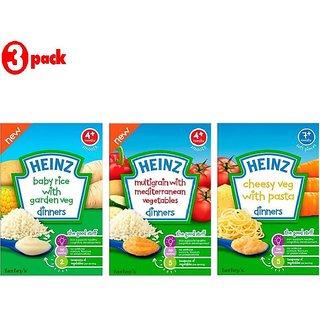 Heinz Cereals Combo (Pack of 3) Baby Rice with Garden Veg + Multigrain With Mediterranean Vegetables + Cheesy Veg Pasta