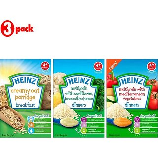 Heinz Cereals Combo (Pack of 3) Creamy Oat Porridge + MG Cauliflower & Broccoli Cheese + Multigrain With Mediterranean Vegetables