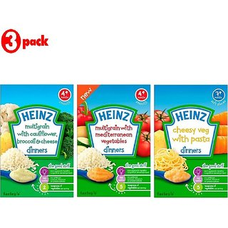 Heinz Cereals Combo (Pack of 3) Multigrain Cauliflower & Broccoli + Multigrain With Mediterranean Vegetables + Cheesy Veg Pasta